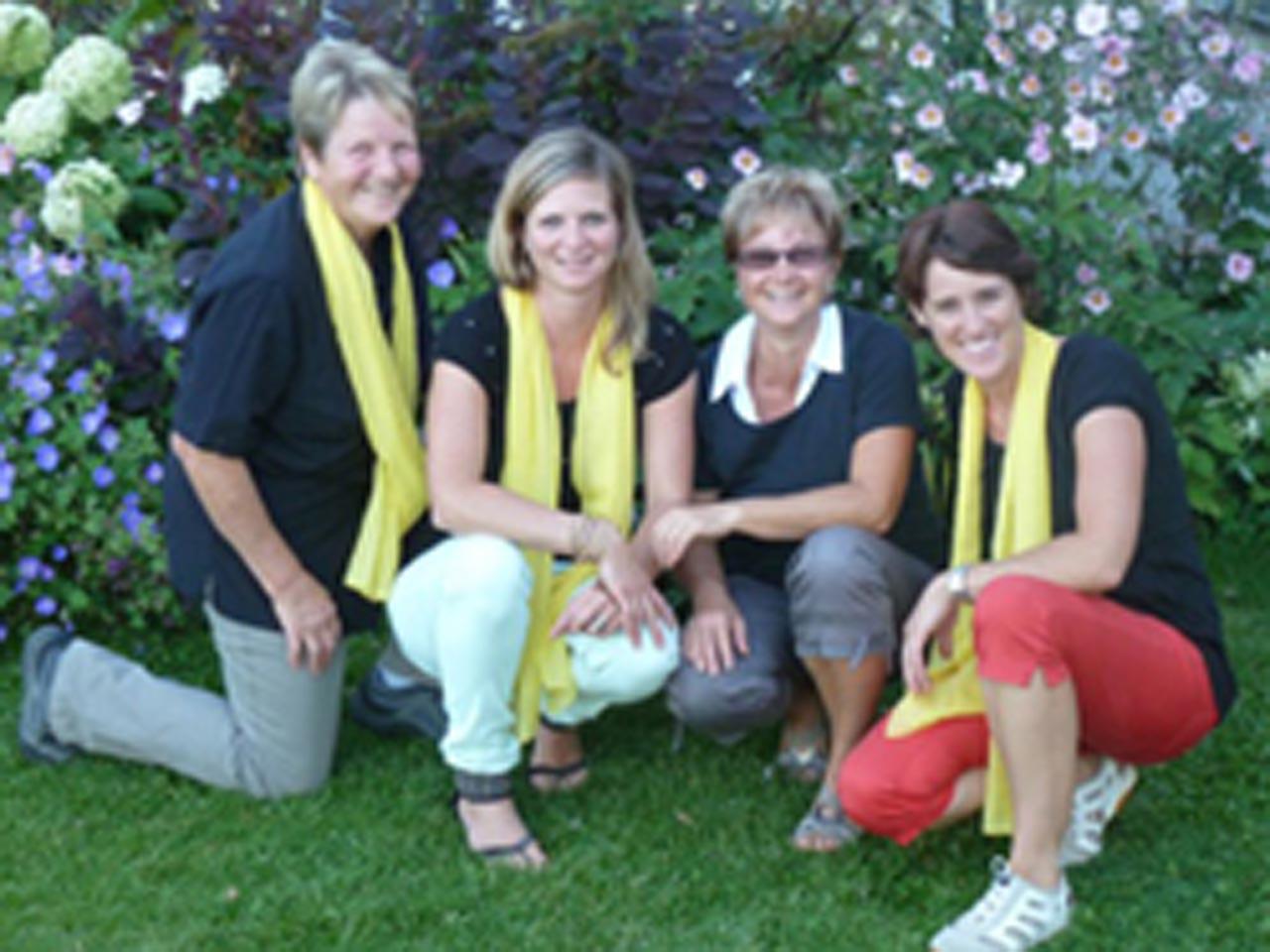 2012 – Gründung der Marktgruppe, von links: Margrith Huber, Karin Köpfli, Agi Arnold, Astrid Fischer.